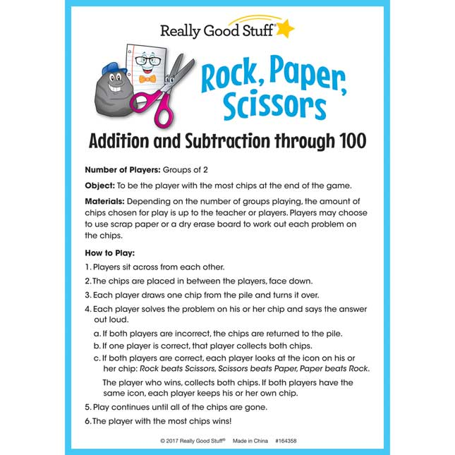 Rock, Paper, Scissors Math Game - Addition And Subtraction Through 100 - 1 game