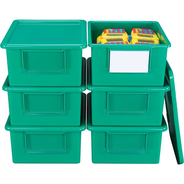 Large Easy-Label Bins With Lids, 6-Pack