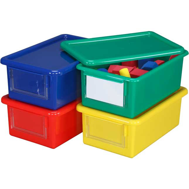 Medium Easy-Label Bins With Lids, 4-Pack, Primary