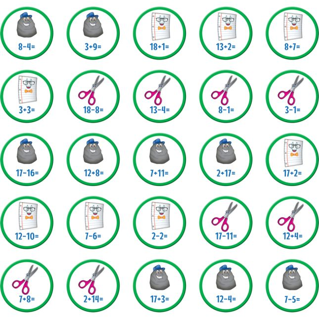 Rock, Paper, Scissors Math Game - Addition And Subtraction Through 20 - 1 game