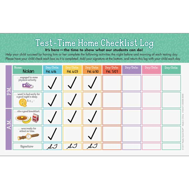 Test-Time Home Checklist Log - Set of 100