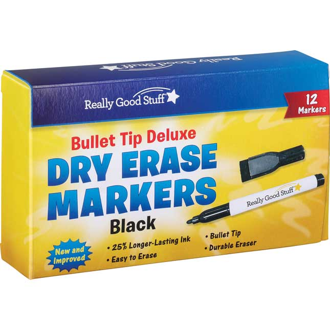 Black Bullet Tip Deluxe Dry Erase Markers - 12 markers_0