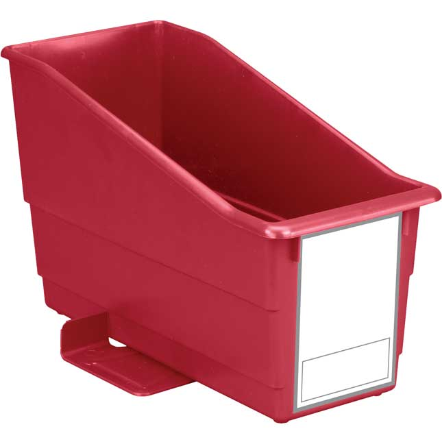 Durable Book and Binder Holder With Stabilizer Wings and Large Label - Single Bin