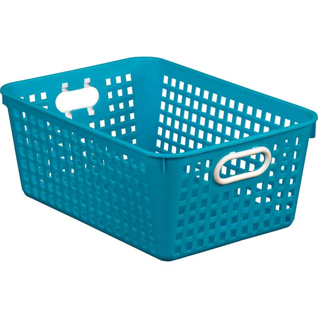 """Large Plastic Desktop Storage Baskets, 13¼"""" by 10"""" by 5½"""" Single Basket – Available in 7 DifferentColors – Great For Your Home Storage or Classroom Needs_1"""