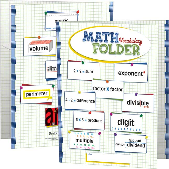 Math Vocabulary Tri-Fold 3-Pocket Folders - Intermediate