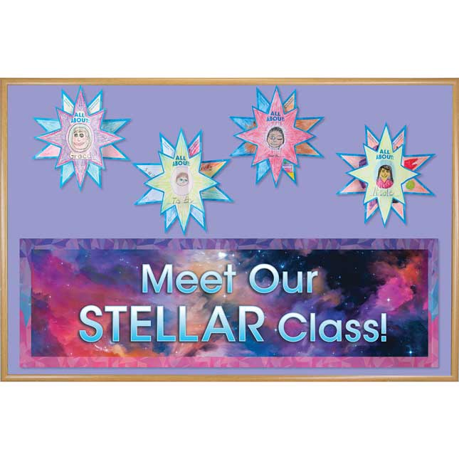 Ready-To-Decorate® Galaxy-Themed 3-D Bulletin Board Kit - 1 banner, 24 stars