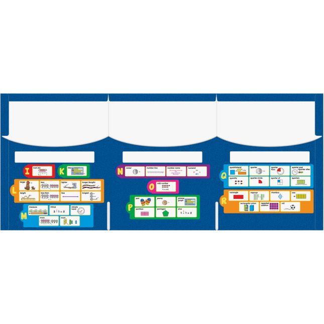 Math Vocabulary Tri-Fold 3-Pocket Folders - Primary - 12 folders