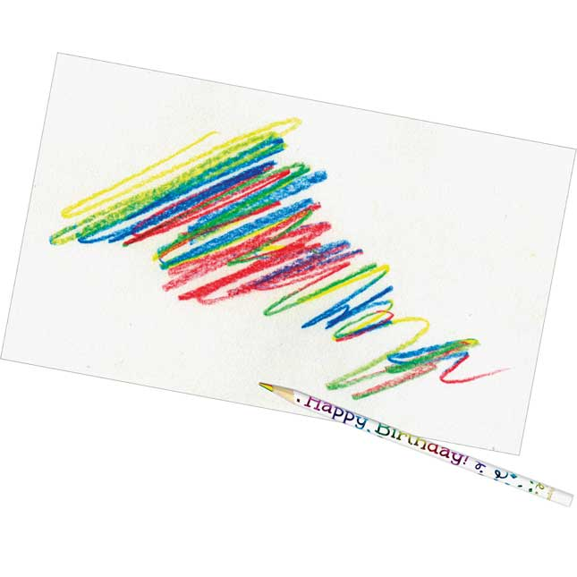 Happy Birthday Multi-Colored Pencils - 12 pencils