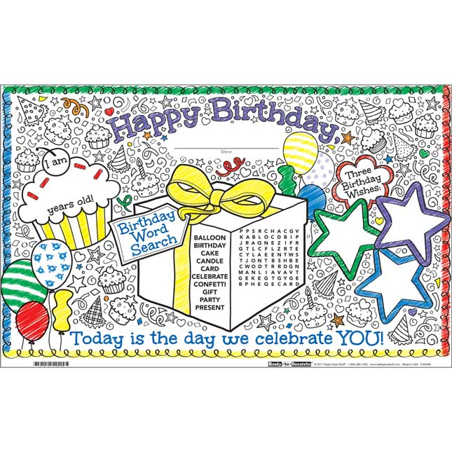 Ready-To-Decorate® Doodle Birthday Activity Mats - 32 mats