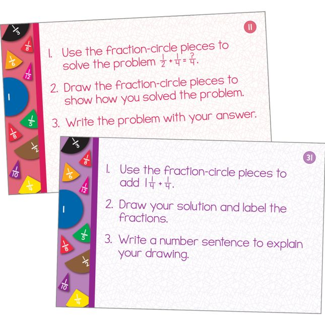 Fraction Circles And Task Cards Kit - 9 fraction circles, 22 cards