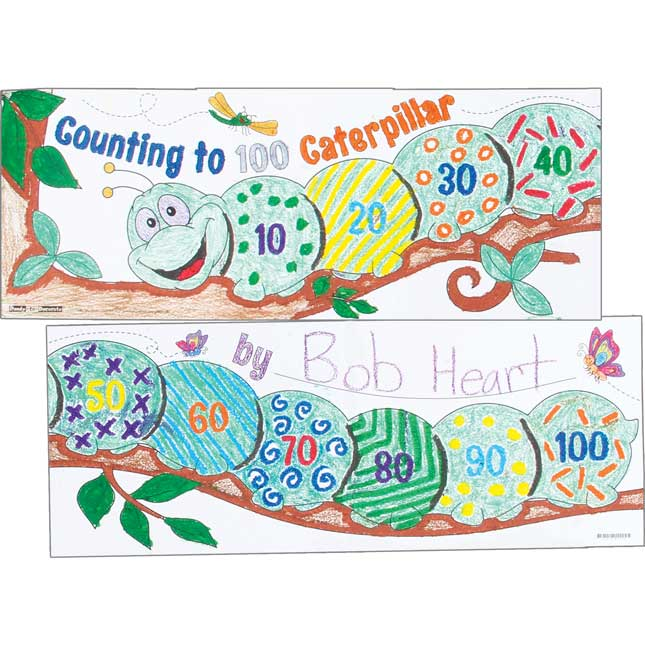Ready-To-Decorate® Count To 100 Caterpillar Posters