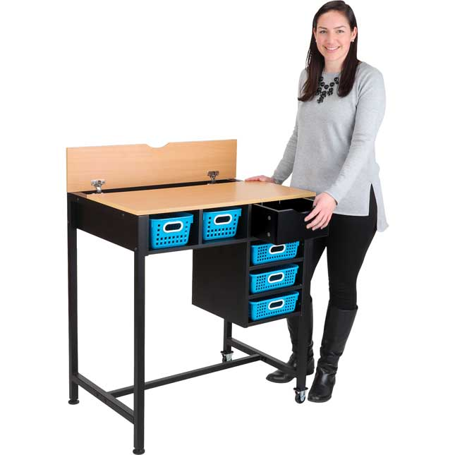 Standing Workstation With Single-Color Baskets