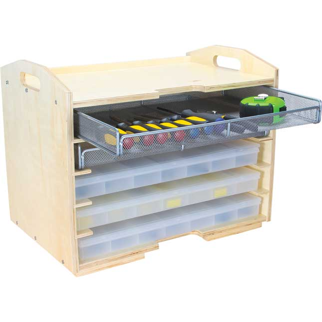 Supply Rack With 3 Storage Cases And 2 Mesh Trays