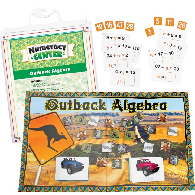 Outback Algebra Numeracy Center with Storage Bag - Grab and Go Learning Pack - Reinforce Early Algebra Skills - Grades 4-6