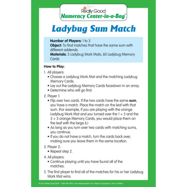Ladybug Sum Match Numeracy Center™