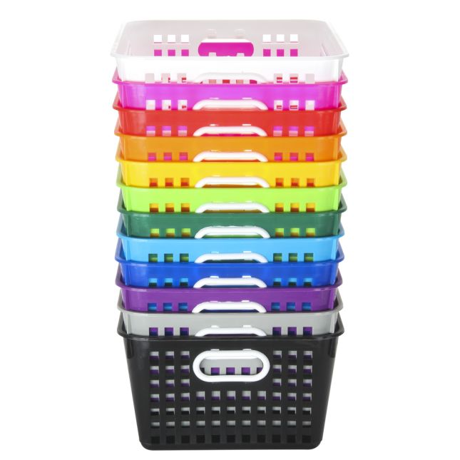 Large Rectangle Book Baskets - 12-Pack Rainbow