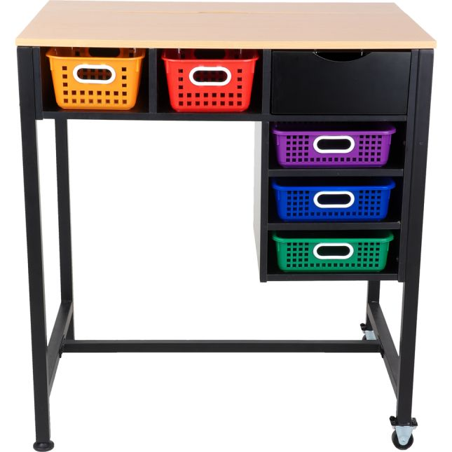 Standing Workstation With Multicolor Baskets