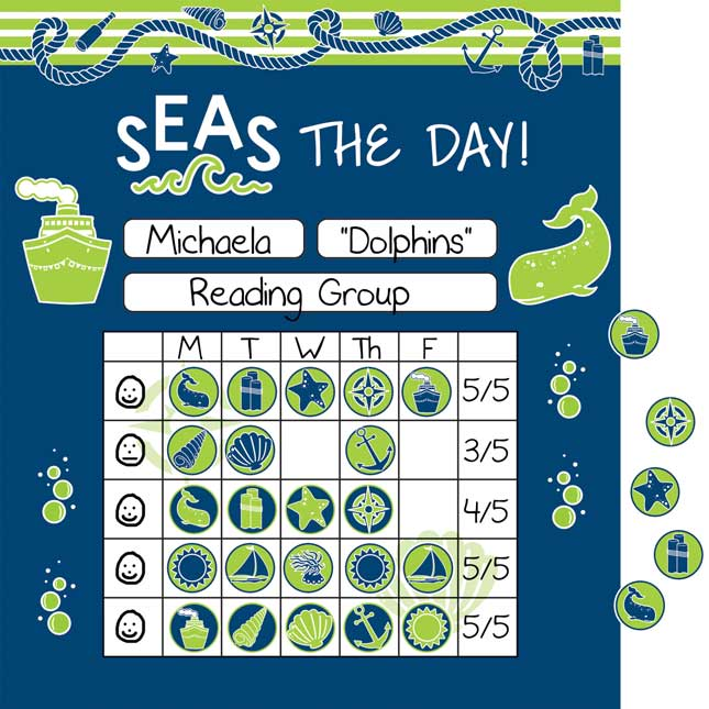 Nautical Mini Incentive Charts And Stickers Kit