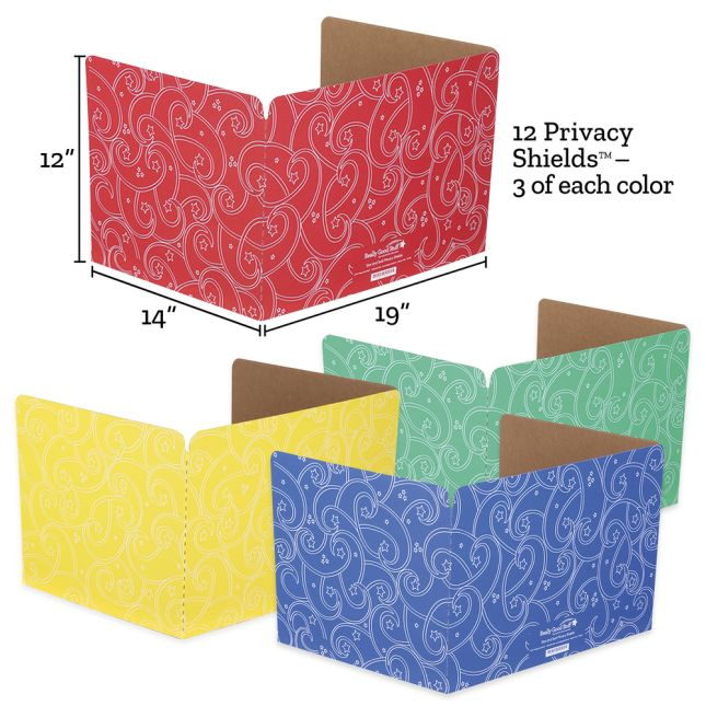 Standard Privacy Shields - Set of 12 - 4 Group Colors - Star & Swirl - Matte