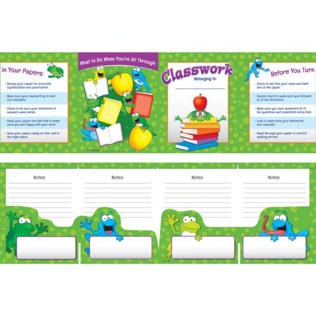 Frogs Classwork Folders with Checklist - 4 Pocket - 12 Pack