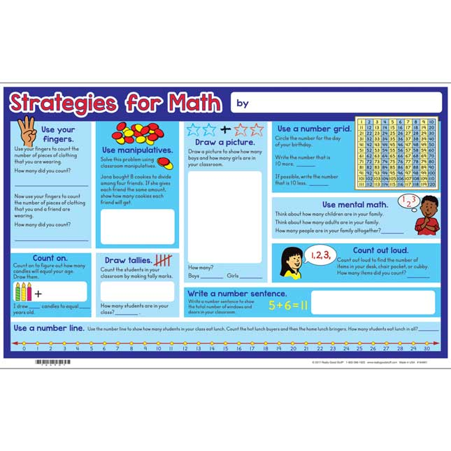 Math Strategies Banner And Activity Mats - 1 banner, 24 mats