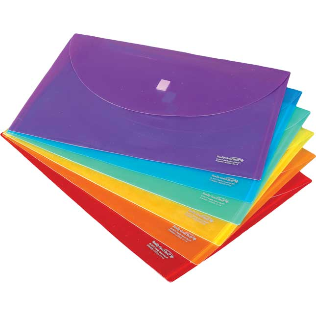 Homework Envelopes with Velcrow Closure - 6 Grouping Colors - 12 Pack