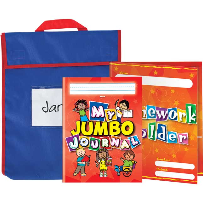 Book Pouches With Folders And Journals - Primary