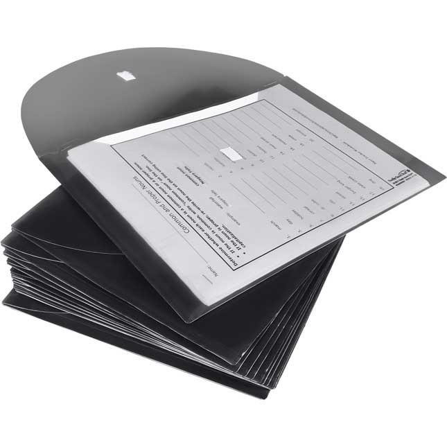 Moisture Resistant Homework Envelopes with Velcro Closure, Blue - 12 Pack