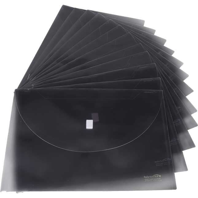 Moisture Resistant Homework Envelopes with Velcro Closure, Black - 12 Pack
