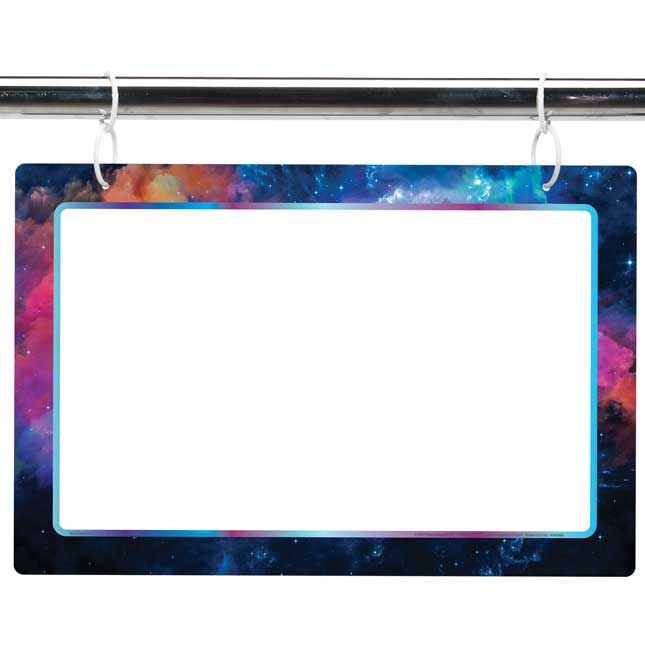 "Two-Sided Dry Erase Board Sign - 12"" x 18"" - Outer Space Galaxy Print"