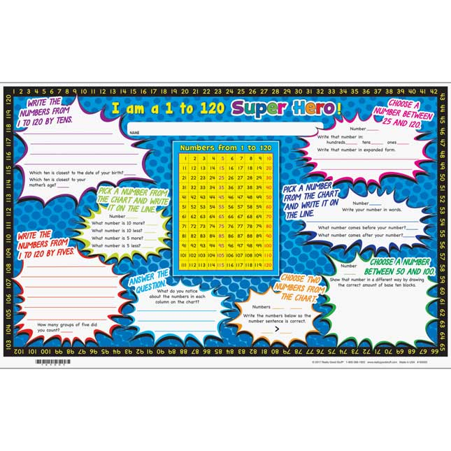 Numbers From 1 To 120 Activity Mats - 24 mats