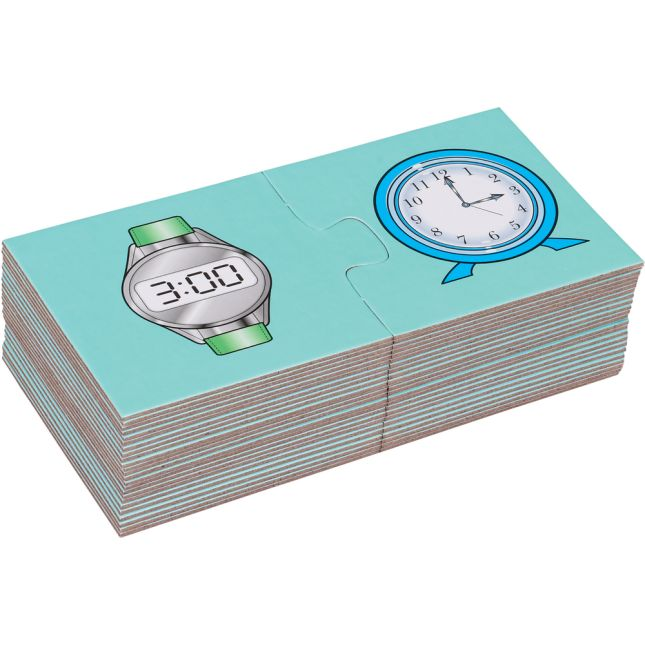Find-A-Pair Puzzles™ - Telling Time To The Hour And Half Hour - 24 puzzles