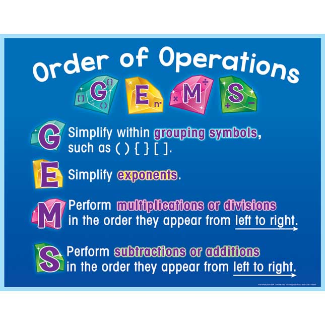 GEMS Order Of Operations Poster And Write Again® Mats
