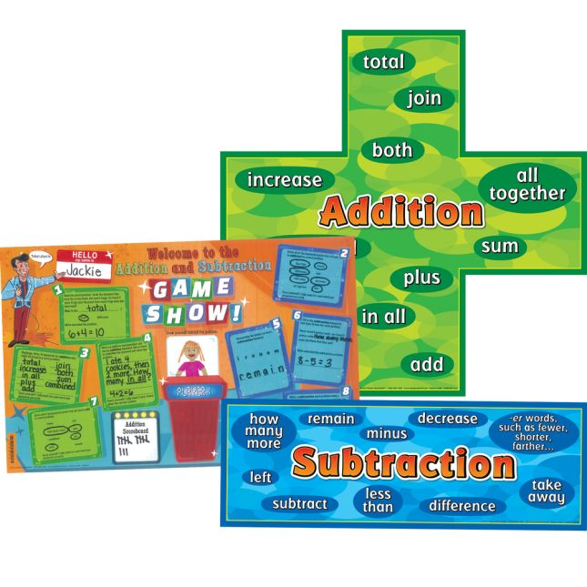 Addition-Subtraction Words Posters And Activity Mats