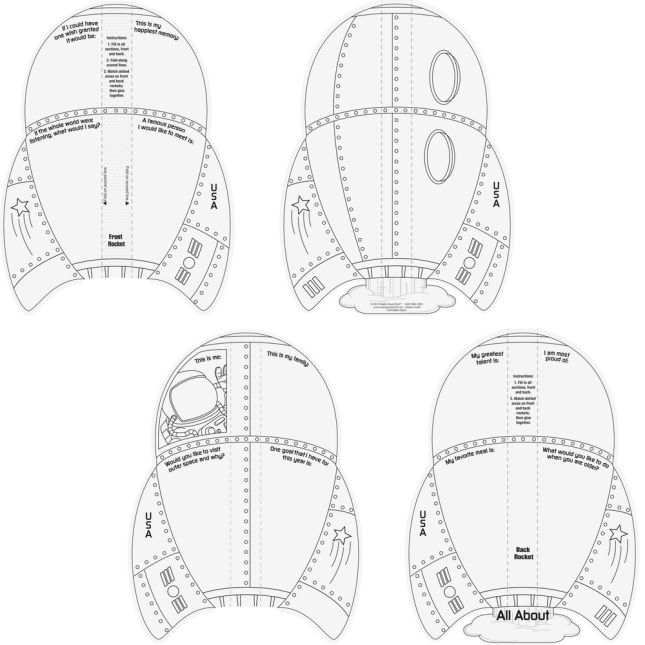 Ready-To-Decorate™ All About Me 3-D Rocket Ships - 24 diecut rocket ships