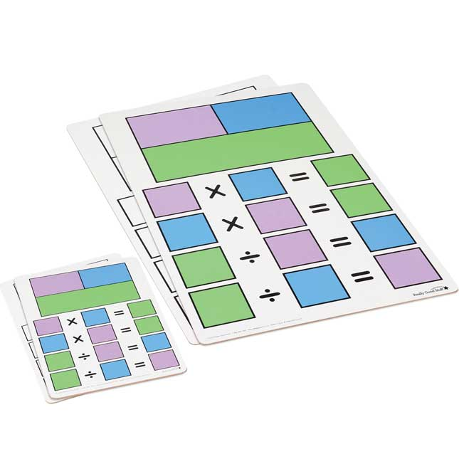 Fact Family Dry Erase Boards - Teacher And Students Kit - Multiplication And Division - 7 boards