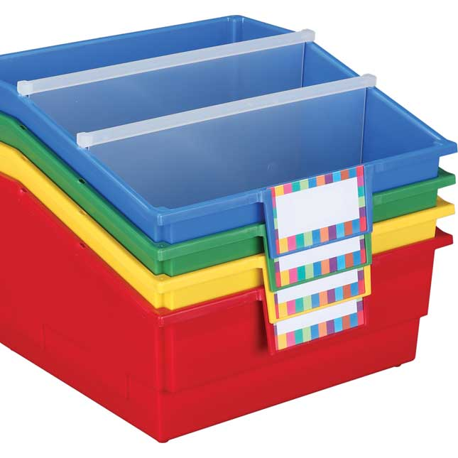 Picture Book Library Bins With Dividers - Primary Set Of 4