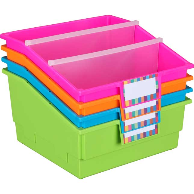 Picture Book Library Bins With Dividers - Neon Set Of 4