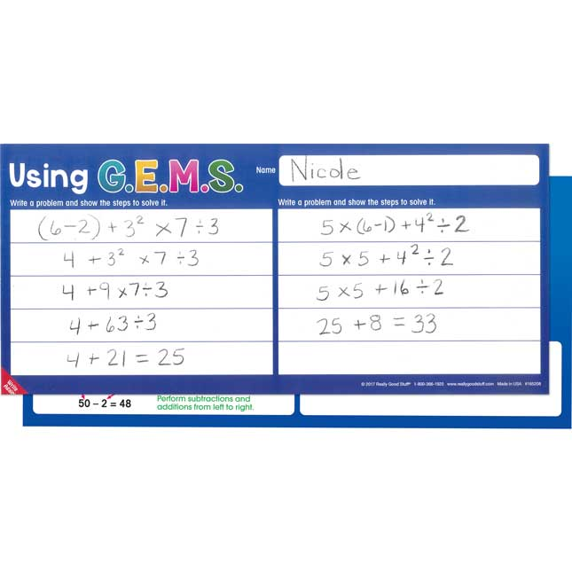 GEMS Order Of Operations Write Again® Mats