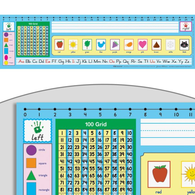 Zaner-Bloser 100 Grid With Number Line Self-Adhesive Vinyl Desktop Helpers™ - Set Of 24