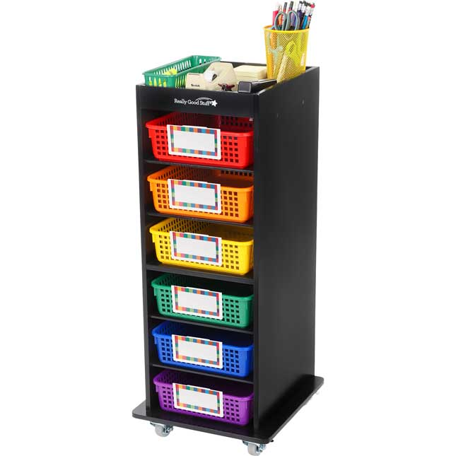 Multi-Use Rolling Organizer With 6 Shelves And Baskets