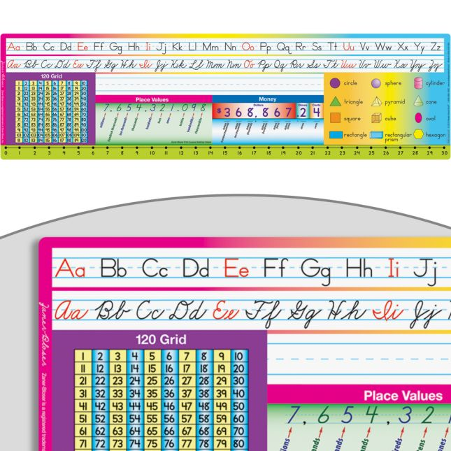 Print Cursive Zaner-Bloser Self-Adhesive Vinyl Desktop Helpers™ With 120 Grid - 24 helpers