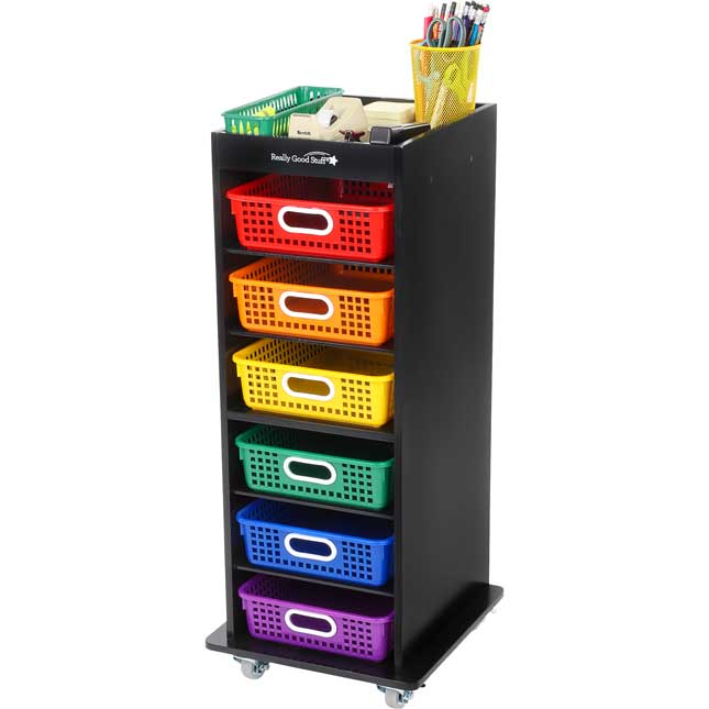 Multi-Use Rolling Organizer With 6 Shelves