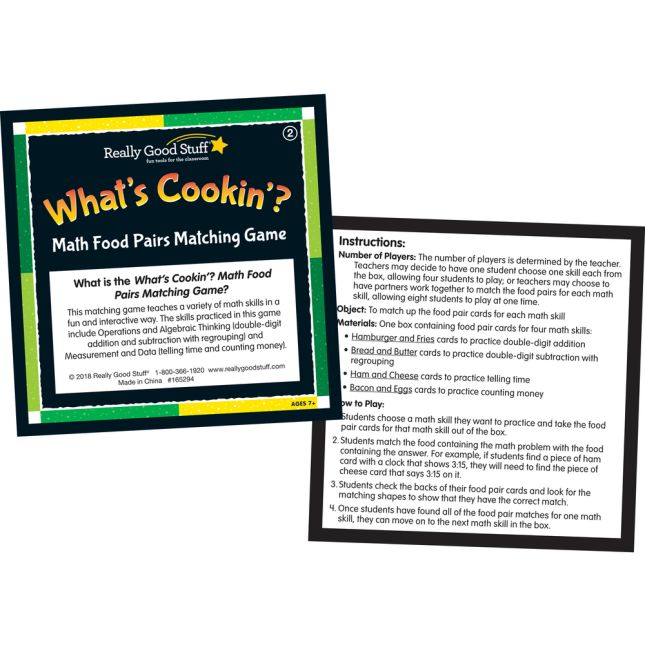 What's Cookin'? Math Food Pairs Matching Game - Second Grade