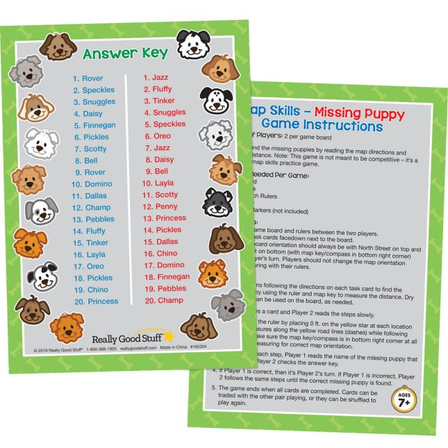 Map Skills – Missing Puppy Game - 1 board game