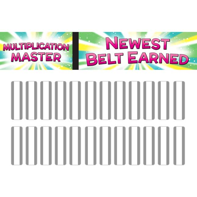 Math Facts Karate System  Multiplication Tables Through 12 - 1 pocket chart, 13 cards
