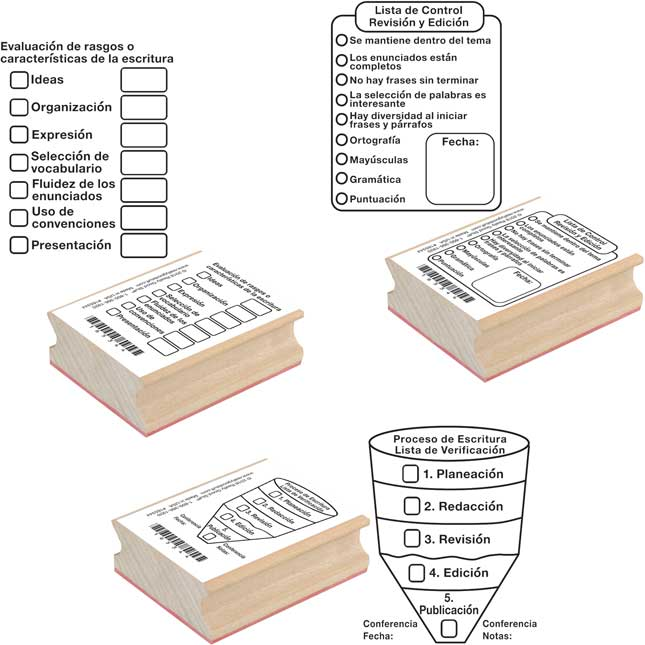 Spanish Writing Rubber Stamps