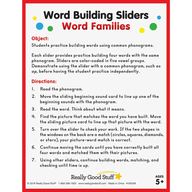 Word Building Sliders: Word Families - 27 sliders