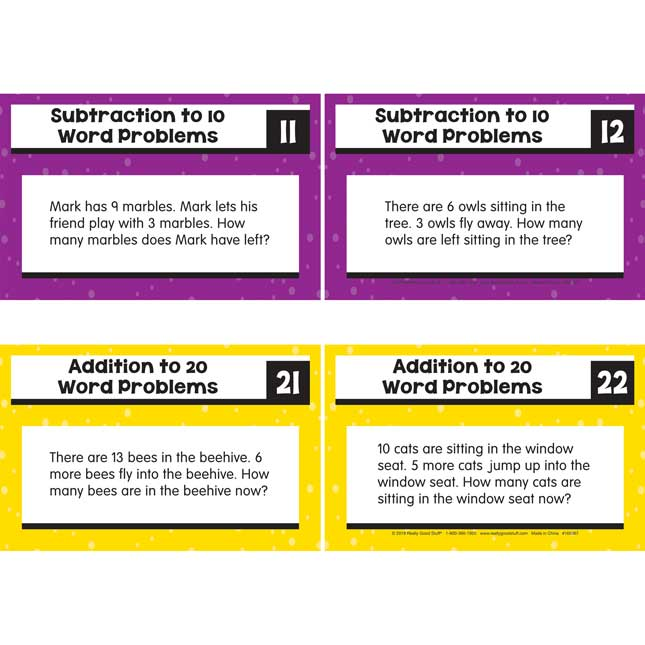 Rekenrek Task Cards - Addition And Subtraction To 20 Word Problems