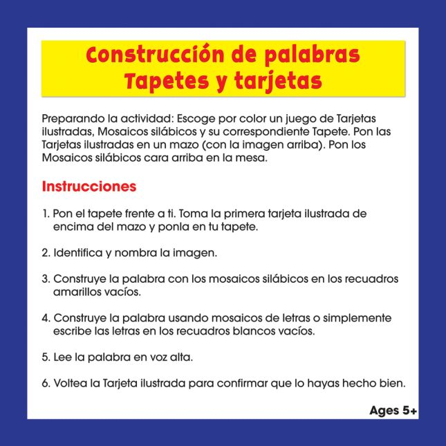 Construcción de palabras Tapetes, tarjetas y letras (Spanish Word Building Mats, Cards, And Letter Tiles) - 1 multi-item kit